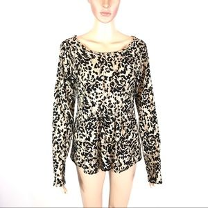 Miss Me Leopard Print Peplum Long Sleeve Top